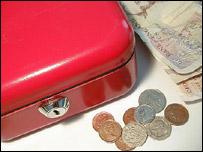 Money box and cash