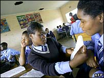 Students at Ibhongo High School, in the heart of South Africa's biggest township Soweto, in class