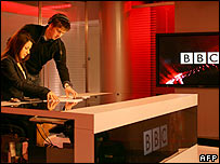 Presenter Fida Bassil, left, prepares to go live on BBC Arabic television at Broadcasting House, 11 March 2008.