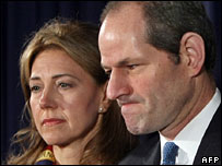 Eliot Spitzer announces his resignation, wife Silda by his side, 12 March 2008