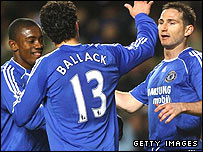 Chelsea celebrate Frank Lampard's opener at Stamford Bridge
