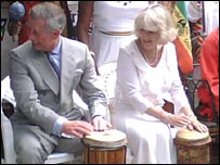 Prince Charles and the Duchess of Cornwall Nyabinghi drumming