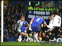 Frank Lampard slots home Chelsea's third at home to Derby