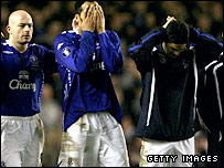 Everton's players look on in horror as Yakubu hits the post