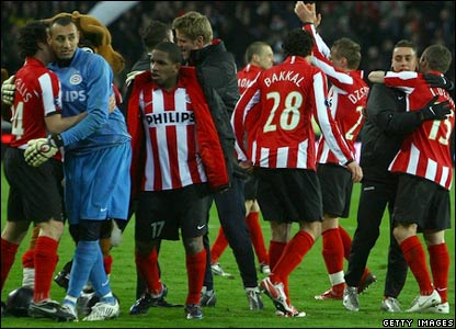 PSV celebrate their win on penalties