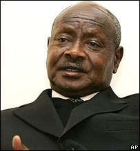 Yoweri Museveni speaking in London, 11 March 2008