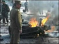 Bomb attack scene in Afghanistan