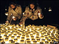 People light candles in Vienna on 12 March 2008