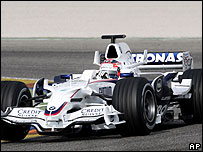Robert Kubica puts the BMW Sauber car through its paces in pre-season testing