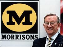 Sir Ken Morrison next to Morrisons logo