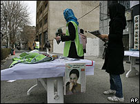 Reformists hand out leaflets on a Tehran street