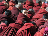 Tibetan Buddhist at a ceremony at Labrang Monastery, Gansu province, 13/03