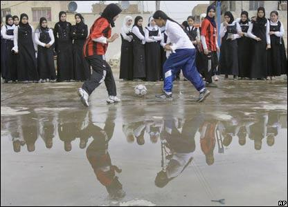 Iraqi girls playing football