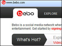 Screen-grab from Bebo website