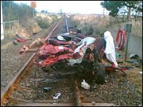 Crash scene at Delny