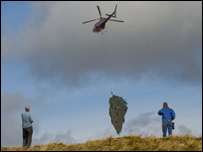 men watching tree being lifted by helicopter