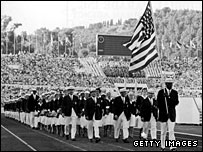 US athletes at the opening ceremony of the 1960 Rome Games