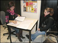 Agnes Urhweiller (left) chats with Aurelie at the careers advice centre