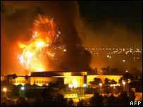 Coalition aid-raid over presidential palace, Baghdad, 21 March 2003