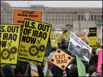 Anti-Iraq war protesters in Washington DC, 17 March 2007