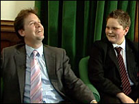 Nick Clegg laughs at a question