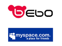 Bebo and MySpace logos