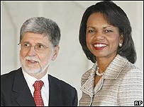 Celso Amorim y Condoleeza Rice, AP