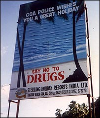 Drug warning in Anjuna  (picture: Frederick Noronha)