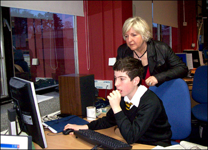 Ben, 13, was one of those preparing a bulletin for Radio Wales, helped by assistant head teacher Sian Davies
