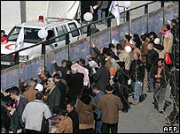 Iraqi refugees waiting for aid in Syria, 11 February 2008