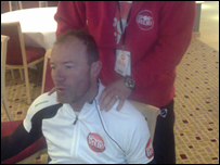 Alan Shearer gets a massage after completing a mighty 119 miles