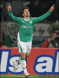 Bremen's Brazilian midfielder Diego savours his strike