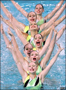 The Swiss women's synchronised swimming team compete at the European Championships in Eindhoven, the Netherlands