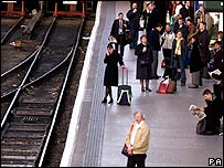 Delayed train passengers