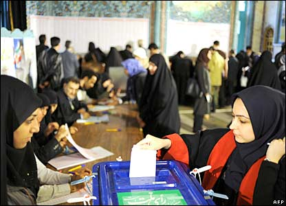 Iranians voting in parliamentary elections