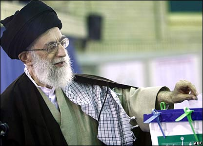 Ayatollah Ali Khamenei casting his vote in Iran's parliamentary elections