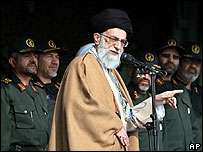 Iran's Supreme Leader Ayatollah Ali Khamenei addressing a Revolutionary Guard rally