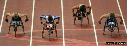 Dame Tanni Grey-Thompson (second left) wins for GB at Athens in 2004