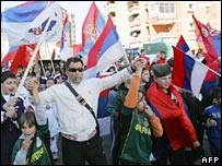 Serbs protest in Mitrovica. File photo