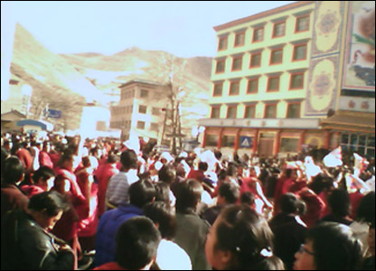 Protests in the north west Gansu province courtesy of the Tibetan Centre for Human Rights and Democracy