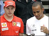 Ferrari's Kimi Raikkonen and McLaren's Lewis Hamilton