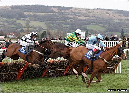 Davy Russell and Naiad du Misselot win the Coral Cup in a photo finish