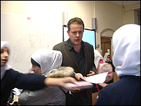 Mike Burnett with pupils at Islamia Girls School