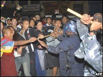 Police and Tibetans clash in Kathmandu on Friday