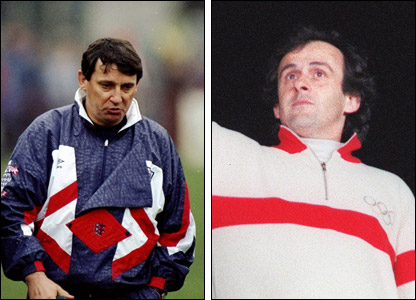 England manager Graham Taylor and France coach Michel Platini in 1992