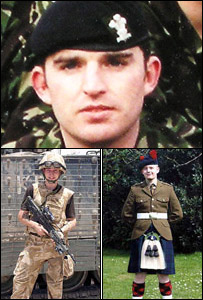 Corporal Paul Joszko (top), Pte Jamie Kerr (left) and Pte Scott Kennedy
