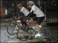 Alan Shearer and Adrian Chiles arrive at TV Centre after their 335 mile bike ride