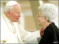 Undated pic of the late Pope John Paul II (L) greeting Chiara Lubich at the Vatican