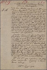 Carta manuscrita del  astr�nomo Johannes Kepler