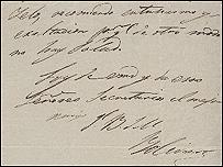 Carta manuscrita del Libertador  Sim�n Bol�var